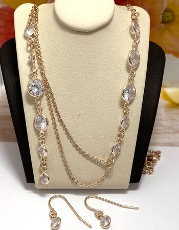 """0.45ctw Cubic Zirconia Set of Earrings & """"Diamond by the Yard"""" Necklace"""