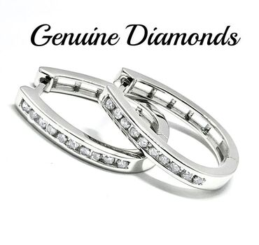 0.50ctw Natural Diamond .925 Sterling Silver Hoop Earrings