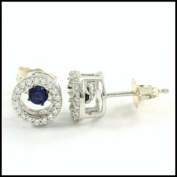 "0.52ctw White & Blue Diamonique, 925 Sterling Silver ""Dancing Diamond"" Stud Earrings"