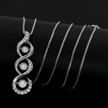 "0.5ctw White Diamonique, 925 Sterling Silver ""Dancing Diamond"" Necklace"