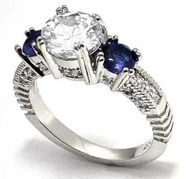 0.60ctw Sapphire & 2.0ctw White Diamonique Antique Design Ring Size 6
