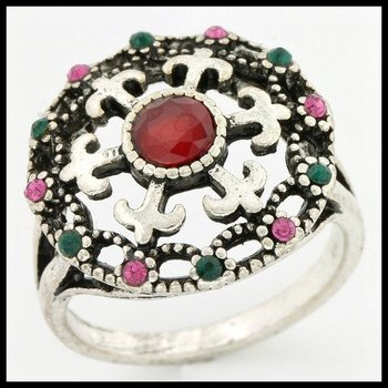 0.62ctw Multi-Color Gemstones Ring size 7 3/4