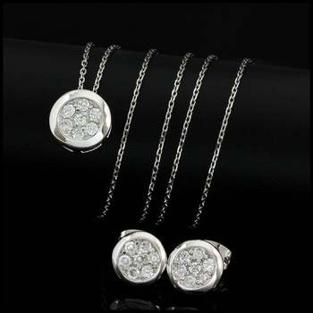 0.63ctw White Diamonique, 925 Sterling Silver Set of Necklace & Earrings