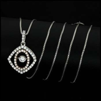 "0.64ctw White Diamonique, 925 Sterling Silver ""Dancing Diamond"" Necklace"