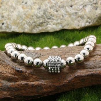 0.65ctw White Sapphire, 5mm Bead Stretch Bracelet