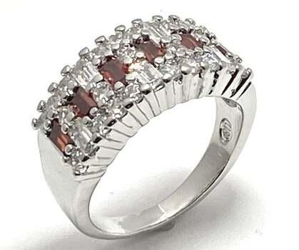 0.75ctw Garnet & 1.0ctw White Diamonique Ring Size 7