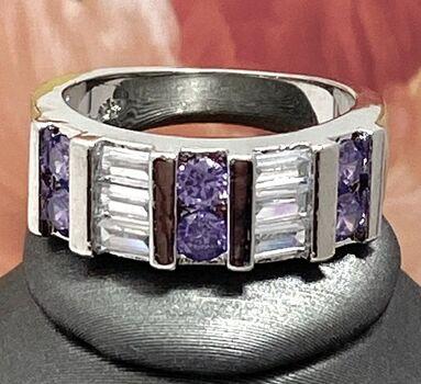 0.78ctw Amethyst & White Sapphire Ring sz 7