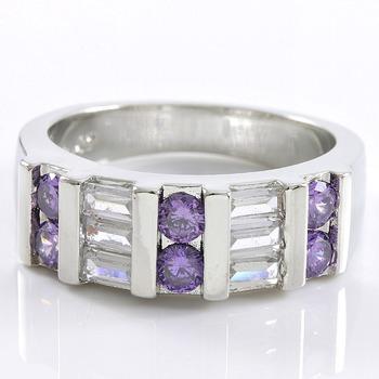 0.78ctw Amethyst & White Sapphire Ring sz 8