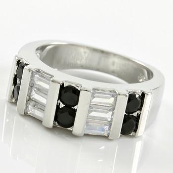 0.78ctw Black & White Sapphire Ring sz 7