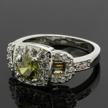 0.78ctw Peridot & White Topaz Ring Size 7.5