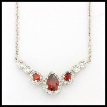 0.79ctw Garnet & (AAA Grade) CZ's Necklace