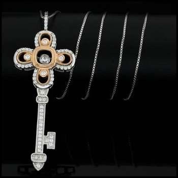 "0.79ctw White Diamonique, 925 Sterling Silver ""Dancing Diamond"" Necklace"