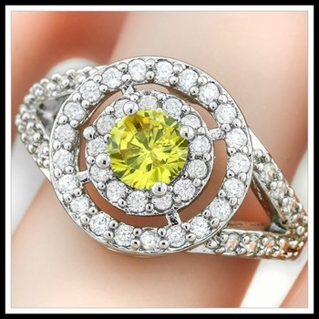 0.80ctw Citrine & White Sapphire Ring Size 7