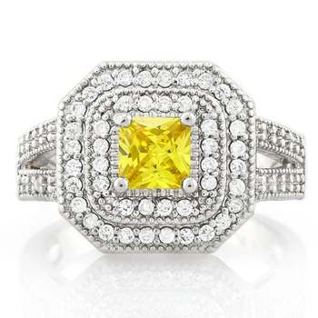 0.85ctw Citrine & White Sapphire Ring Size 6