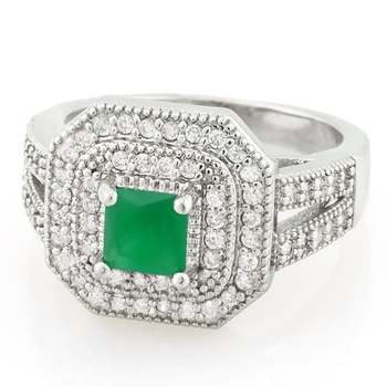 0.85ctw Emerald & White Sapphire Ring Size 8