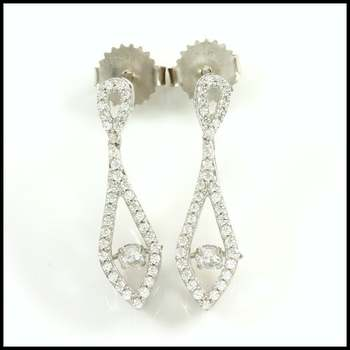 "0.88ctw White Diamonique, 925 Sterling Silver ""Dancing Diamond"" Earrings"