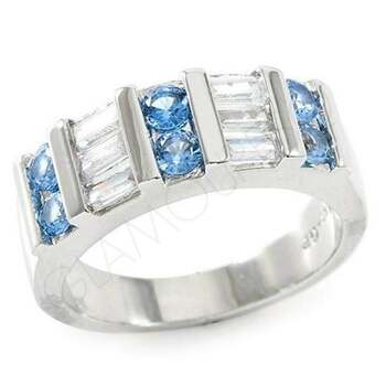 0.90ctw Round & Baguette Cut (AAA Grade) Blue & White CZ's Ring Size 7