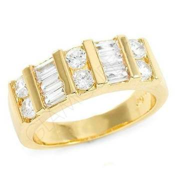 0.90ctw Round & Baguette Cut (AAA Grade) CZ's Ring Size 6.5