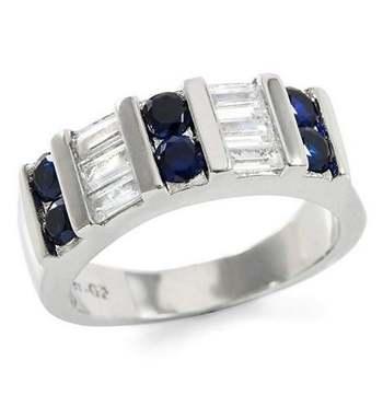 0.90ctw Round Cut Sapphire & Bagutte Cut (AAA Grade) CZ's Ring Size 7