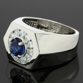 0.98ctw Blue & White Sapphire Ring Size 8.5