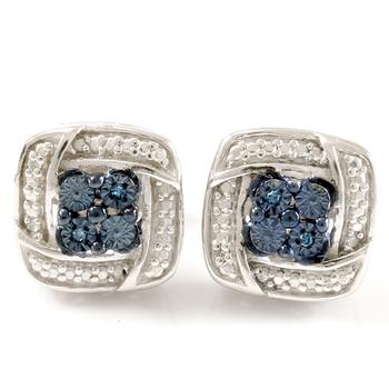 10 Genuine Blue & White Diamonds Set in .925 Sterling Silver & 18k White Gold Overlay Earrings