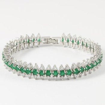10.00ctw Emerald & White Sapphire Tennis Bracelet