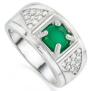1.00ctw Emerald & White Sapphire Ring Size 7