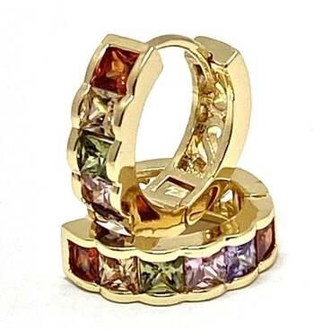 1.00ctw Multicolor Gemstones Huggie Earrings