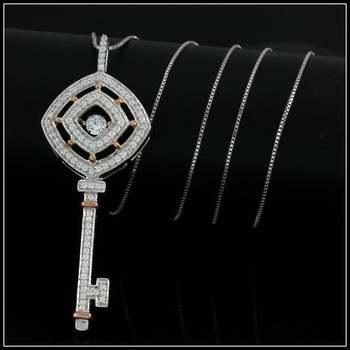 "1.02ctw White Diamonique, 925 Sterling Silver ""Dancing Diamond"" Necklace"