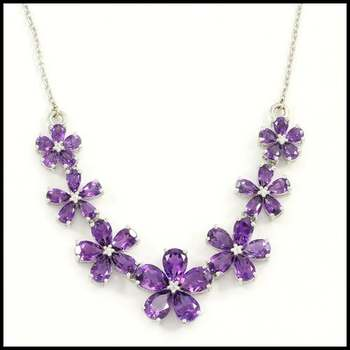 10.5 Grams .925 Sterling Silver 8.50ctw Genuine Amethyst Necklace