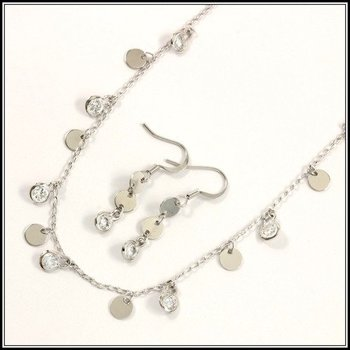 10.50ctw AAA+ Grade Fine White Cubic Zirconia Fine Jewelry Brass with 3x Gold Overlay Set of Necklace & Earrings