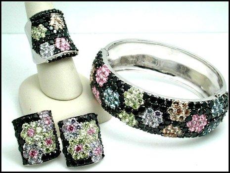 105.5 Grams Sterling Silver Multicolor Stones Set of Bracelet, Clipon Earrings & Ring Size 7
