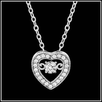 1.05ctw AAA+ Grade White Cubic Zirconia CZ Heart Dancing Diamonds Necklace