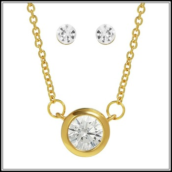 1.05ctw AAA+ Grade White Cubic Zirconia CZ Necklace and Stud Earrings Set