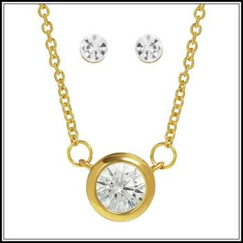 1.05ctw AAA+ Grade White Cubic Zirconia Necklace and Stud Earrings Set