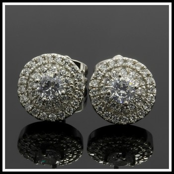1.05ctw White Sapphire Fine Jewelry Brass with 3x 14k Gold Overlay Earrings
