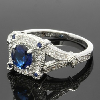 1.08ctw Blue & White Sapphire Ring Size 6 3/4