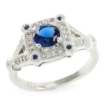 1.08ctw Blue & White Sapphire Ring Size7