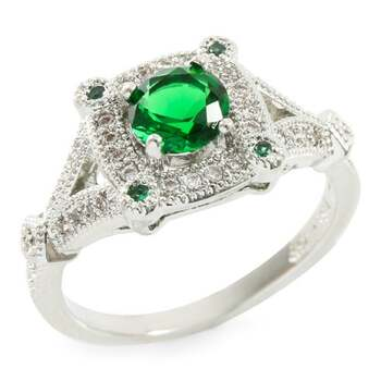 1.08ctw Emerald & White Sapphire Ring Size 7