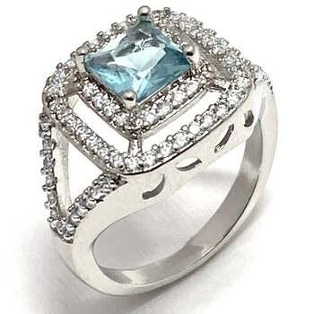 1.0ctw Blue Topaz & 0.40ctw White Diamonique Ring Size 7