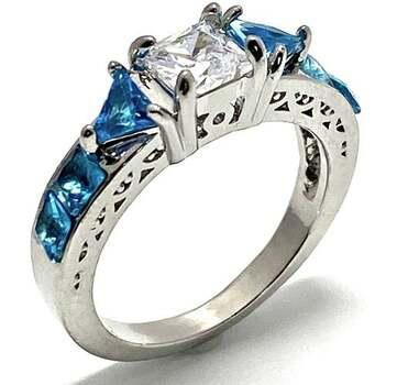 1.0ctw Blue Topaz & 0.75ctw White Diamonique Ring Size 7