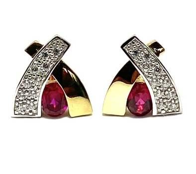 1.0ctw Ruby & 0.20ctw White Diamonique Earrings