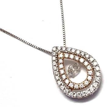 "1.0ctw White Diamonique, 925 Sterling Silver ""Dancing Diamond"" Necklace"