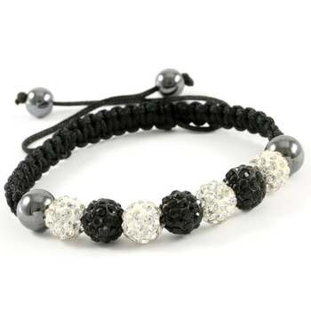 10mm Crystal Black and White Pave Beaded Adjustable Bracelet