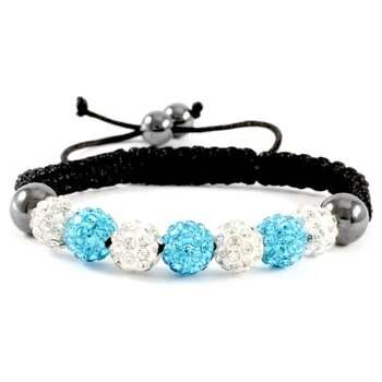 10mm Crystal Blue and White Pave Beaded Adjustable Bracelet