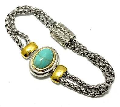 10x15mm Turquoise Magnetic Clasp Two-Tone 14k Gold Over Bracelet