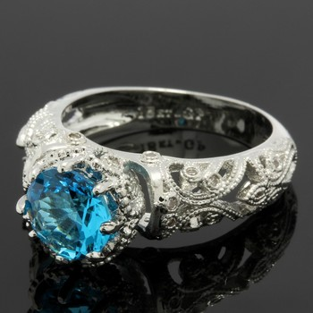 1.10ctw Swiss Blue Topaz & White Topaz Ring Size 6.5
