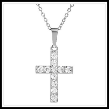 1.10ctw White Topaz Cross Necklace