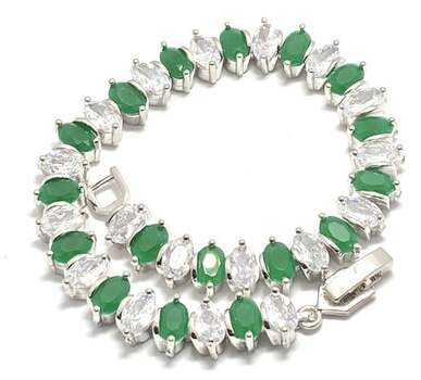 11.25ctw Emerald & 11.25ctw White Diamonique Tennis Bracelet