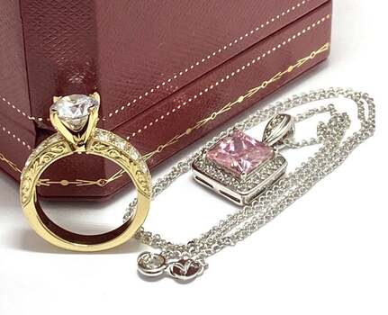 11.25ctw Pink & White Topaz Lot of Necklace & Ring